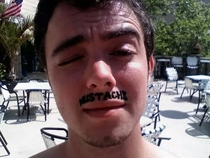 My buddy jokingly decided to get a henna tattoo of a mustache while at the beach The foreign worker didnt understand what he was saying so she asked him to write down what he wanted This was the result