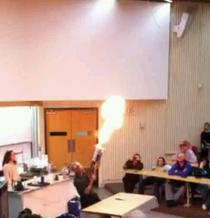 My chem professor made a flamethrower out of a nerf gun I think this is going to be a fun year