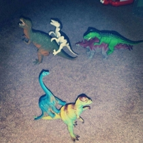 My co-workers wife sent him this picture today His son wanted the dinosaurs to give each other piggy back rides