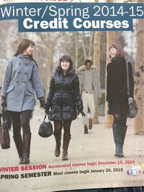 My college thought it was a good idea to photo shop some diversity onto the cover of our newest course catalogue