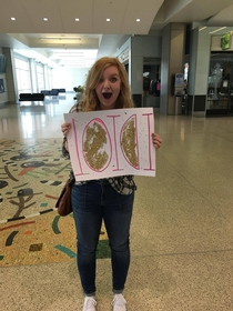 My cousin picked me up from the airport today and welcomed me with this sign
