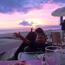 My cousin took her phone away from her son to take a picture of a beautiful sunset
