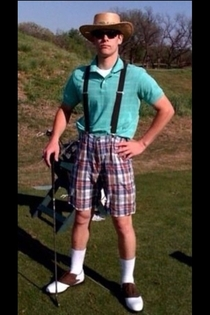 My cousin went to the golf course and the manager told him that he wasnt dressed well enough to play He went home changed and came back in this