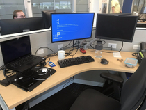 My coworker changed our interns background to the Blue Screen of Death when he forgot to lock his workstation before taking a bathroom break Many unnecessary reboots took place before he figured out the problem