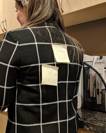 My coworker wore a checkered suit today Unfortunately she didnt let us finish