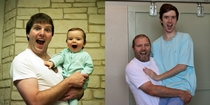 My Dad and I recreated a family photo for my th birthday