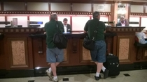 My dad checking into a hotel They were both completely oblivious