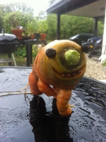 My dad found a deformed carrot and took it to the next level poor thing