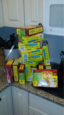 My dad goes grocery shopping every week and buys the same things without checking the pantry This is the result
