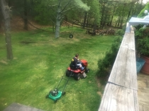My dad got innovative after the blade broke on the riding lawn mower
