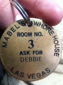 My dad has had this on his keys for years and I just noticed what it says My moms name is Debbie