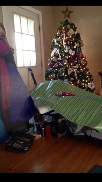 My dad hates wrapping presents so he just