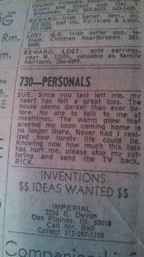 My dad kept a newspaper from  This is the first ad in the personals