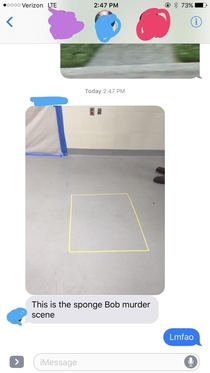 My Dad saw a crime scene at work the other day and had to share it with my family
