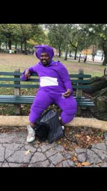 My dad saw this Teletubby smoken a bowl in the Boston common today and asked him for a picture