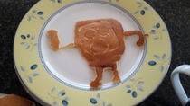 My dad used to make awesome spongebob-shaped pancakes when I was little and I asked him to make me some the other day I may have overestimated his skills