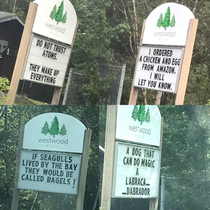 My dad was responsible for our neighbourhood sign this week a series