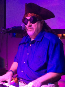 My Dad who is blind dressed as a pirate for Halloween