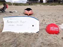 My Dad works for Discovery and thinks hes hilarious Today he put this out on the beach and waited for volunteers