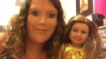 My daughter face swapped with her American Girl Doll