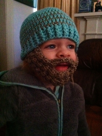 My daughter is fascinated with beards and my mother is talented with crochet So naturally