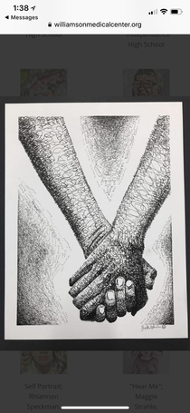 My daughter was a finalist in a local art contest for high schoolers The entire drawing was made from her writing various words and phrases in cursive The word butthole occurs  times