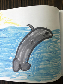 My daughters kindergarten class published a book of their animal drawings My daughter drew a penis dolphin