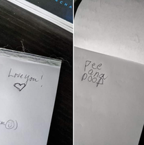 My desk notepad - message from my wife vs  yo daughter