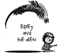 My drawing of Ripley and the Alien done Calvin and Hobbes style x-posted from rcalvinandhobbes