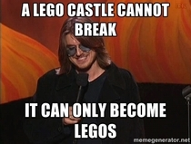 My eight year old was upset because her lego castle fell over and broke then I heard the words of Mitch