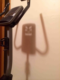 My exercise bike has an angry shadow