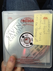My family got a movie from RedBox Somebody left us a warning