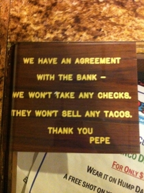 My favorite Mexican place has an agreement
