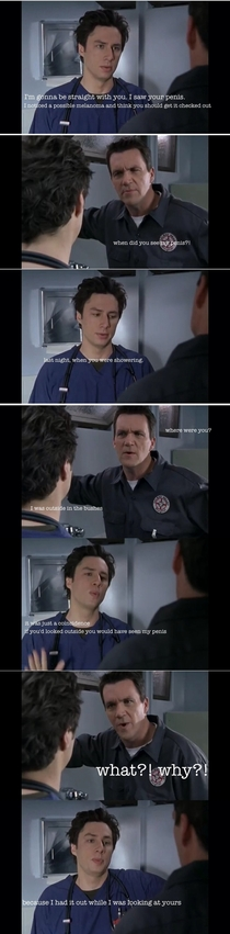My favourite exchange from Scrubs JD sees the Janitors penis SFW