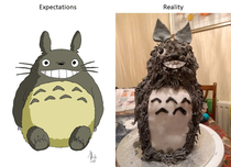 My fiancees attempt at a Totoro cake