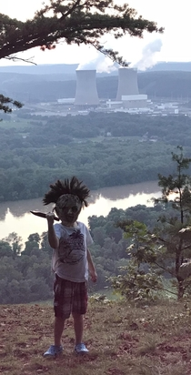 My four year old son brought his new Leatherface mask on the hike yesterday Looks like hes ready to wreak some havoc on the valley below I am new to RedditI dont know how to pick the sub category in the app