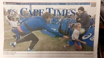 My friend absolutely nailed the creep pose on the front page of a local Newspaper