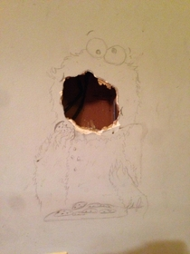My friend accidentally put a hole in his wall while moving furniture I came up with a quick fix