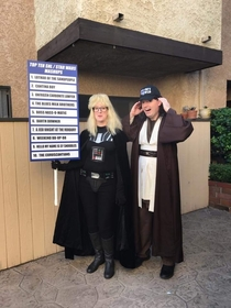 My friend and her husband always bring it at Halloween but this year they really topped themselves Meet Garth Vader and Obi Wayne Kenobi