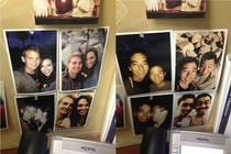 My friend and I decided to update our coworkers pictures of him and his girlfriend at his desk Took him over an hour to notice