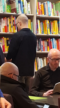 My friend and I went to a bookshop and the matrix glitched hes the bald dude in black and glasses