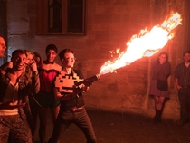 My friend built a flamethrower Came to a college party dressed as Arcade Fire What do you guys think