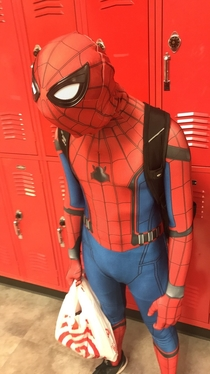 My friend came to school dressed as Spooderman