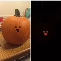 My friend carved this sad pumpkin last night