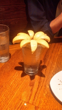 My friend complained to our waiter that there wasnt a lemon in his water