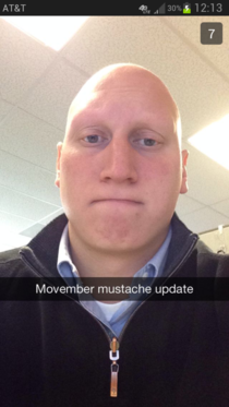 My friend has Alopecia this is his Movember mustache update