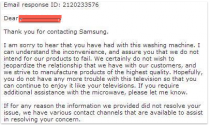 My friend has been having trouble with her Samsung washing machinehere is Samsungs response