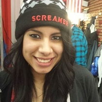 My friend Karren loves horror movies she doesnt understand why people keep laughing at her new hat