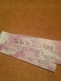 My friend paid  for two Red Hot Chili Peppers tickets and got this in the mail