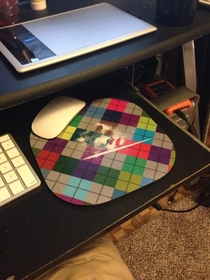 My friend seems to think I had a line of coke sitting out Unfortunately it was a worn out mousepad